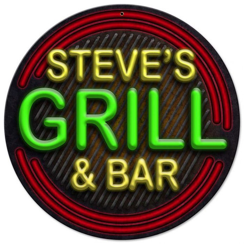 Grill And Bar Personalized Sign 14 x 14 Inches