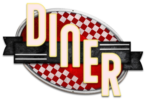 Diner Red Checkers Metal Sign 24 x 16 Inches