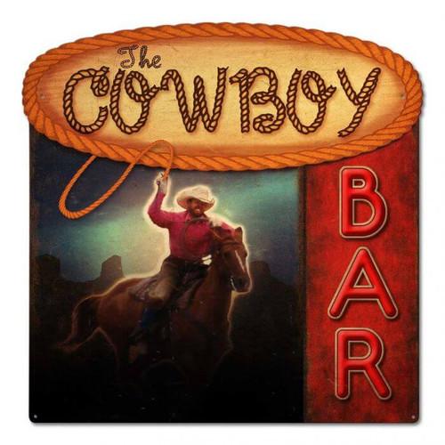 Cowboy Bar Metal Sign 24 x 24 Inches