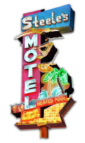Steel's Motel Cut-Out Metal Sign 14 x 28 Inches