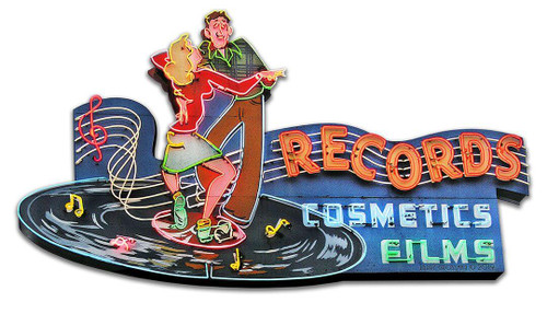 1956 Records Store Metal Sign 18 x 10 Inches