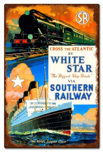 White Star Ship Metal Sign 24 x 16 Inches