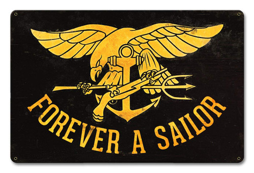 Forever a Sailor Metal Sign 18 x 12 Inches