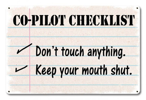 Airplane Checklist Metal Sign 18 x 12 Inches