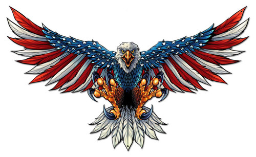 Eagle With US Flag Wing Spread Metal Sign 42 x 25 Inches