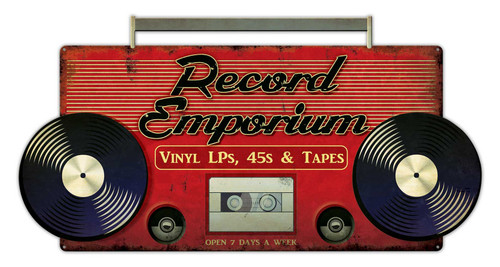 Record Emporium Metal Sign 28 x 15 Inches