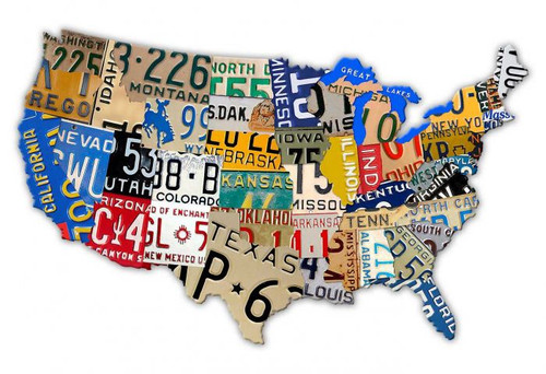Retro License Plate USA Metal Sign 18 x 12 Inches