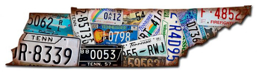 Tennessee Map License Plates Metal Sign 10 x 16 Inches