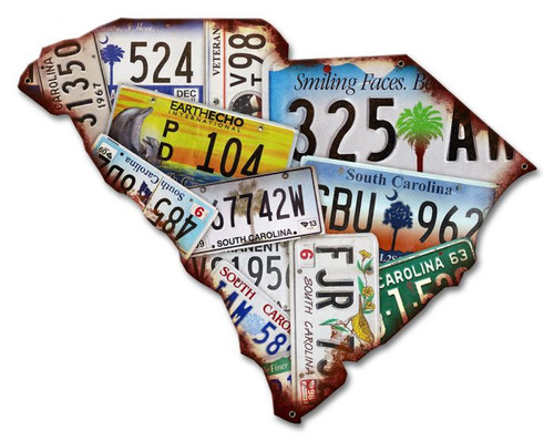 South Carolina Map License Plates Metal Sign 18 x 14 Inches