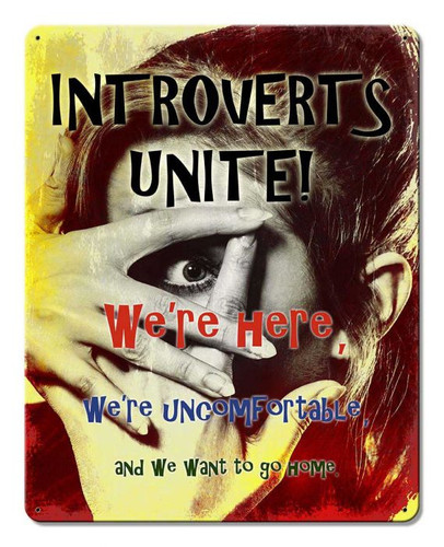 Introverts Unite Metal Sign 12 x 15 Inches