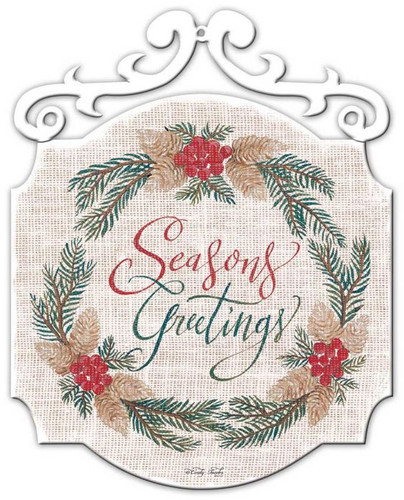 XMAS Seasons Greetings Metal Sign 20 x 25 Inches