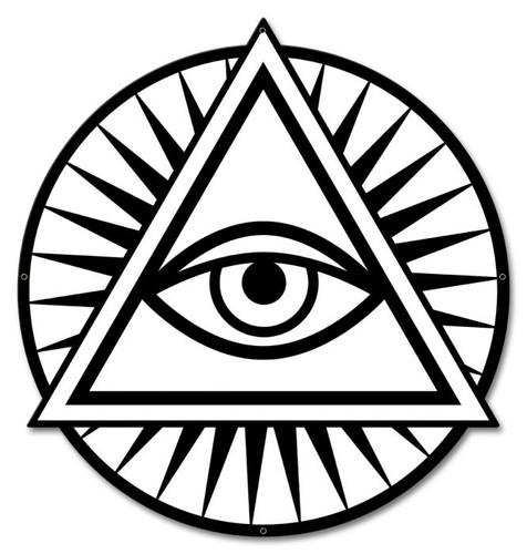 Illuminati Eye Metal Sign 17 x 18 Inches
