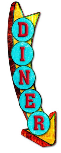 Diner Arrow 3-D Metal Sign 9 x 26 Inches