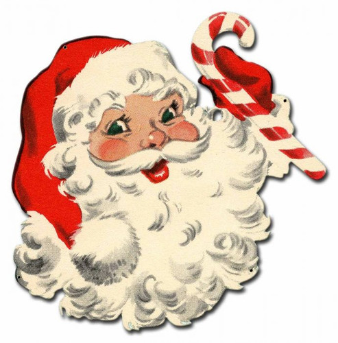 Santa Candy Cane Metal Sign 18 x 18 Inches
