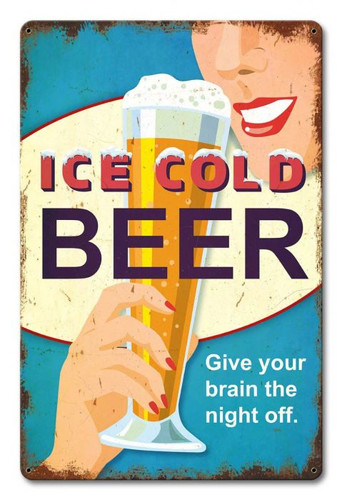 ICE COLD BEER Metal Sign 12 x 18 Inches