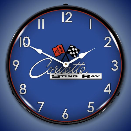 C2 Corvette LED Lighted Wall Clock 14 x 14 Inches