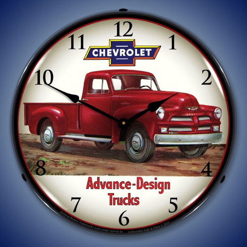 1954 Chevrolet Truck 2 LED Lighted Wall Clock 14 x 14 Inches