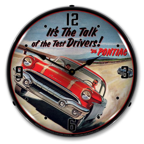 1956 Pontiac LED Lighted Wall Clock 14 x 14 Inches