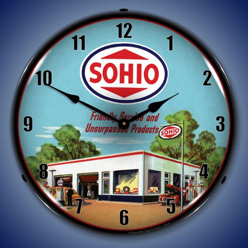 Sohio Gas Station LED Lighted Wall Clock 14 x 14 Inches