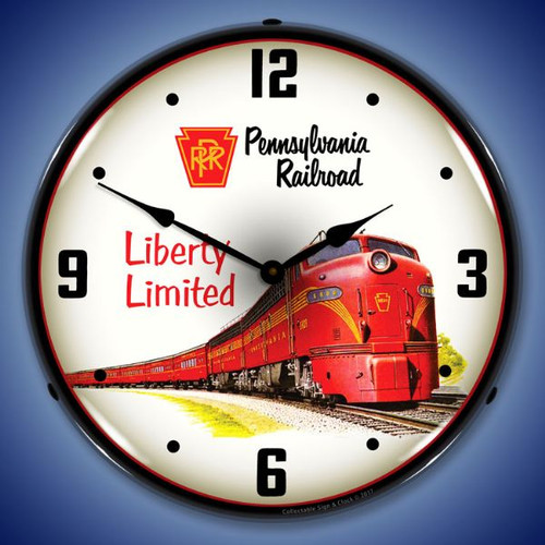 Pennsylvania Railroad Liberty Limited LED Lighted Wall Clock 14 x 14 Inches