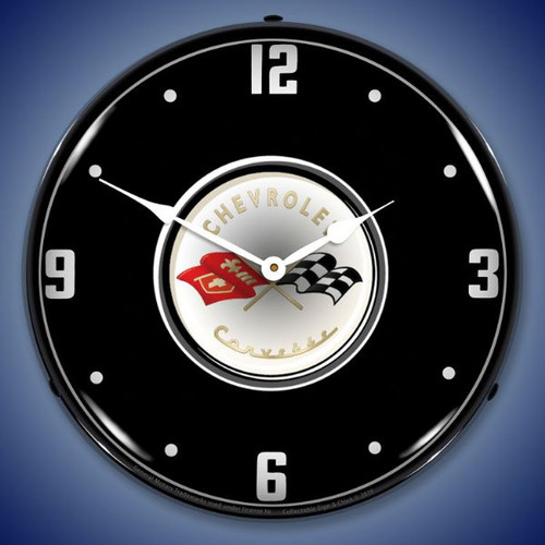 C1 Corvette Black Tie LED Lighted Wall Clock 14 x 14 Inches
