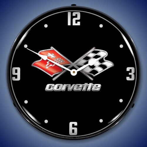 C3 Corvette Black Tie LED Lighted Wall Clock 14 x 14 Inches