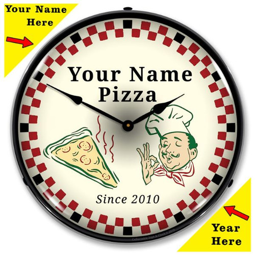 Personalized Pizza Parlor LED Lighted Wall Clock 14 x 14 Inches