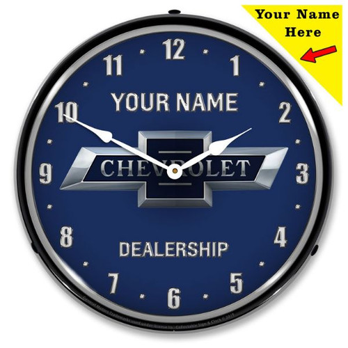 Personalized Chevrolet Bowtie 100th Anniversary LED Lighted Wall Clock 14 x 14 Inches