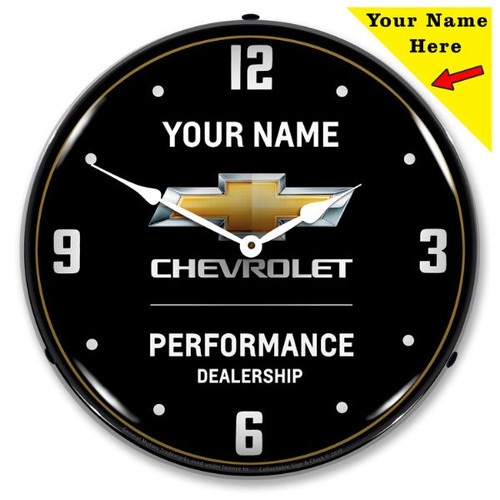Personalized Chevrolet Performance LED Lighted Wall Clock 14 x 14 Inches
