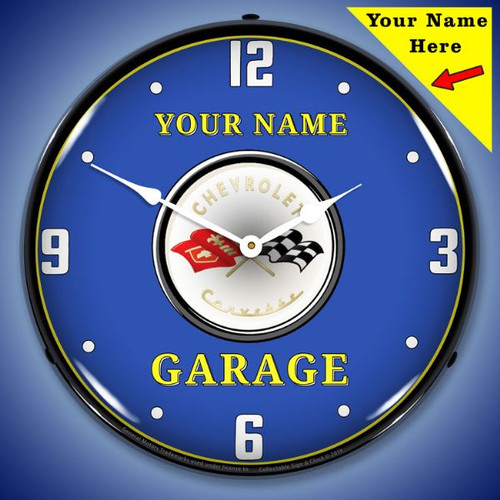 Personalized C1 Corvette Garage LED Lighted Wall Clock 14 x 14 Inches