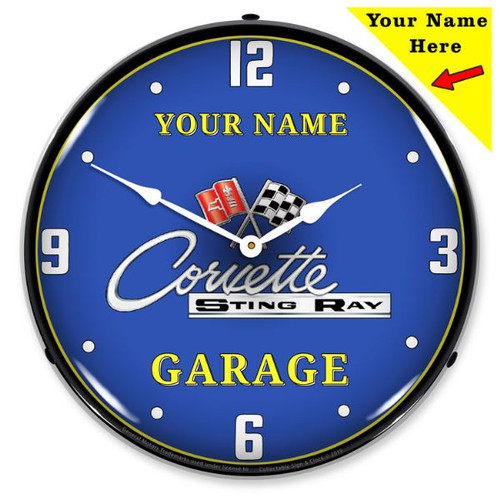 Personalized C2 Corvette Garage LED Lighted Wall Clock 14 x 14 Inches