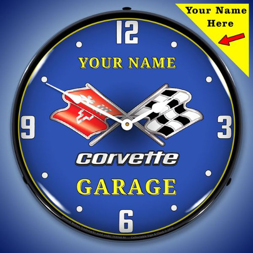 Personalized C3 Corvette Garage LED Lighted Wall Clock 14 x 14 Inches