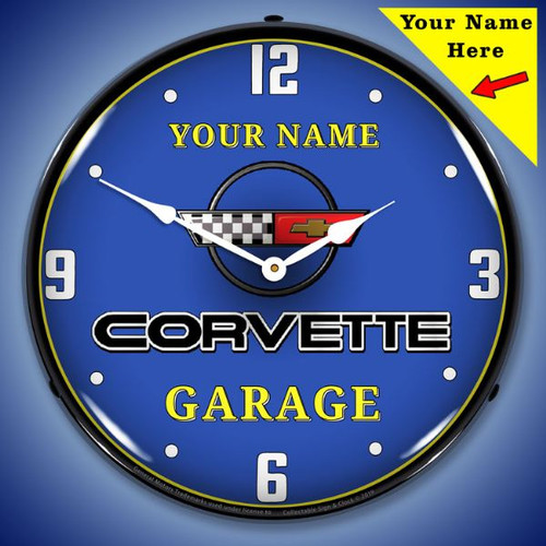 Personalized C4 Corvette Garage LED Lighted Wall Clock 14 x 14 Inches