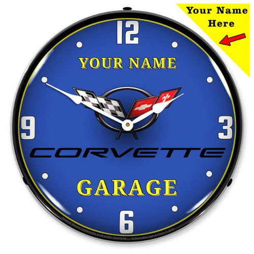Personalized C5 Corvette Garage LED Lighted Wall Clock 14 x 14 Inches
