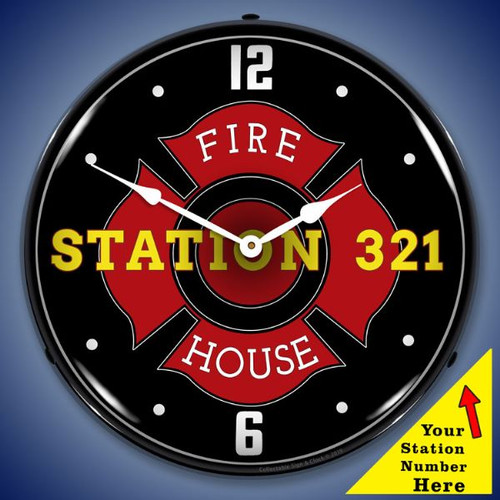 Personalized Fire Station Number LED Lighted Wall Clock 14 x 14 Inches