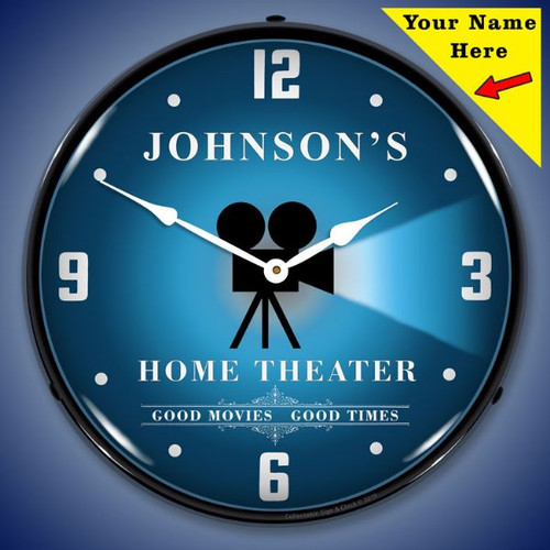 Personalized Home Theater LED Lighted Wall Clock 14 x 14 Inches