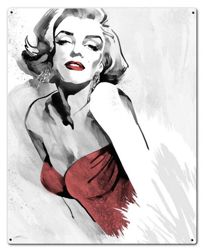 Marilyn Monroe's Pose Red Dress Metal Sign 24 x 30 Inches