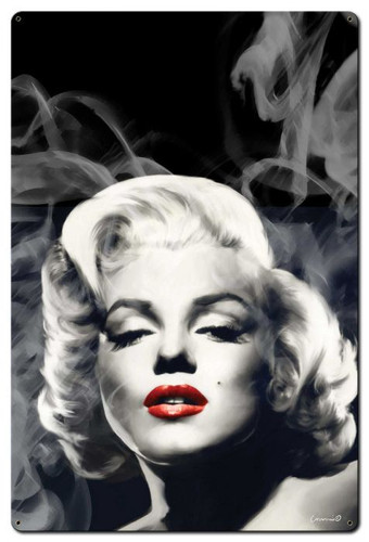 Red Lips Smokey Marilyn Monroe Metal Sign 24 x 36 Inches