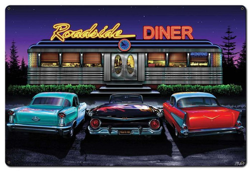 Roadside Diner Metal Sign 36 x 24 Inches