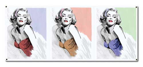 Three Faces Of Marilyn Monroe Metal Sign 30 x 13 Inches