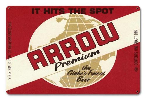 Arrow Premium Beer Metal Sign 18 x 12 Inches