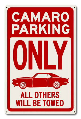 Camaro Parking Red Metal Sign 12 x 18 Inches