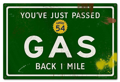 Gas Grunge Road Metal Sign 24 x 16 Inches