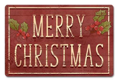 Merry Christmas Holly Metal Sign 18 x 12 Inches