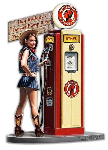 Gas Pump Girl Wild Metal Sign 14 x 20 Inches