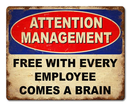 Employee Brain Metal Sign 15 x 12 Inches