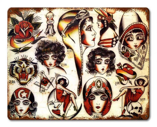 Tattoo Art 2 Metal Sign 15 x 12 Inches