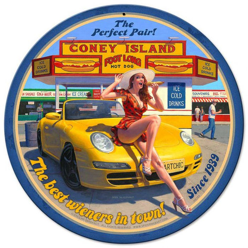 Coney Island Pinup Metal Sign 14 x 14 Inches