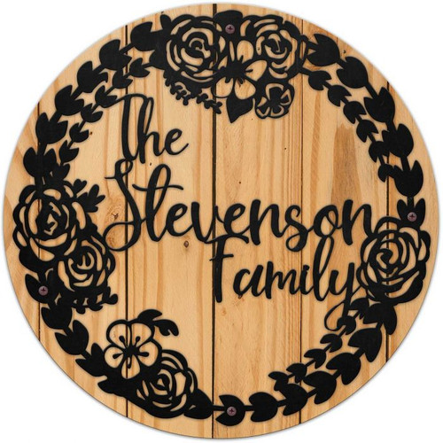 Wreath Family Name Metal With Wood Backing - Personalized 28 x 28 Inches