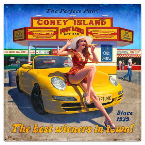 Coney Island Large Metal Sign 36 x 36 inches